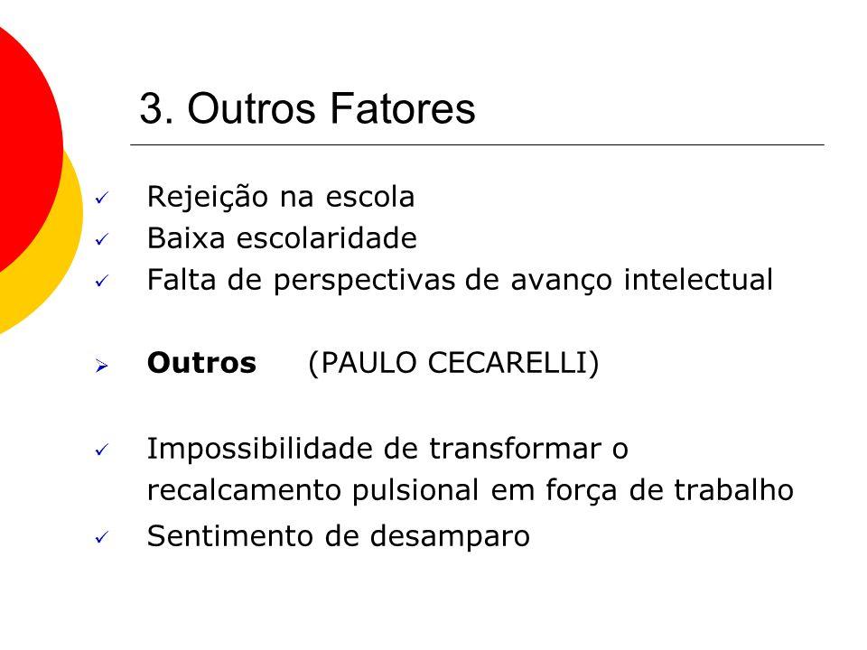3. Outros Fatores Rejeição na escola Baixa escolaridade Falta de perspectivas de avanço intelectual Outros (PAULO CECARELLI) Impossibilidade de transf