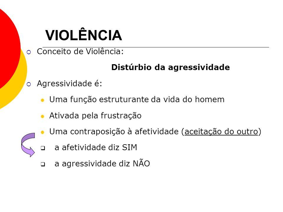 VIOLÊNCIA Conceito de Violência: Distúrbio da agressividade Agressividade é: Uma função estruturante da vida do homem Ativada pela frustração Uma cont