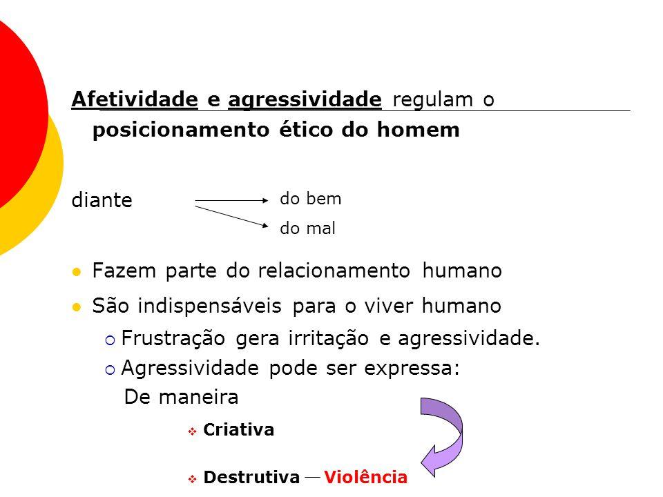 Afetividade e agressividade regulam o posicionamento ético do homem diante Fazem parte do relacionamento humano São indispensáveis para o viver humano