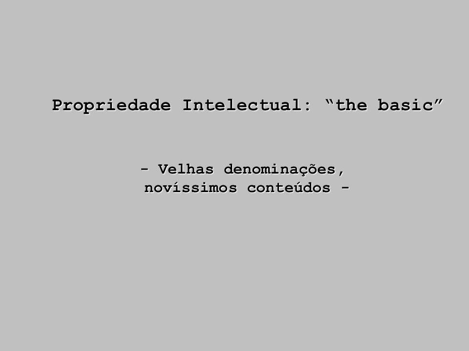 Propriedade Intelectual: the basic - Velhas denominações, novíssimos conteúdos -
