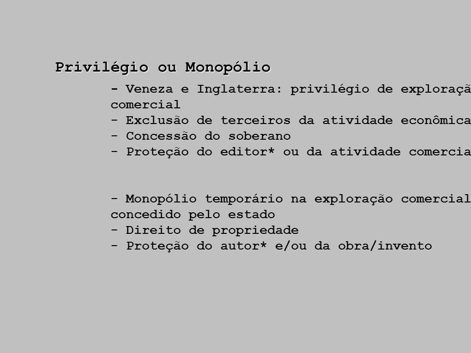 Privilégio ou Monopólio - Veneza e Inglaterra: privilégio de exploração comercial - Exclusão de terceiros da atividade econômica - Concessão do sobera