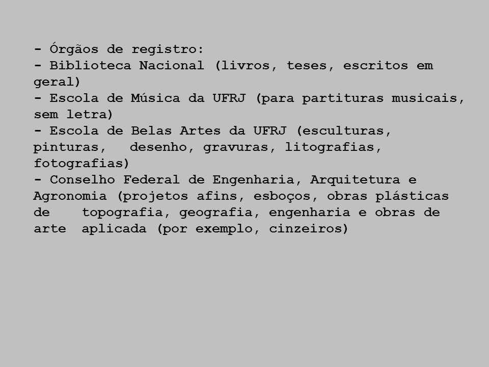 - Órgãos de registro: - Biblioteca Nacional (livros, teses, escritos em geral) - Escola de Música da UFRJ (para partituras musicais, sem letra) - Esco