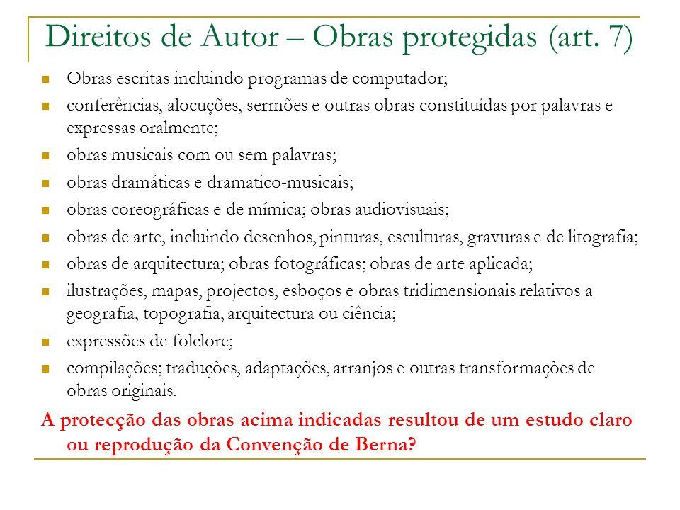 Direitos de Autor – Obras protegidas (art.