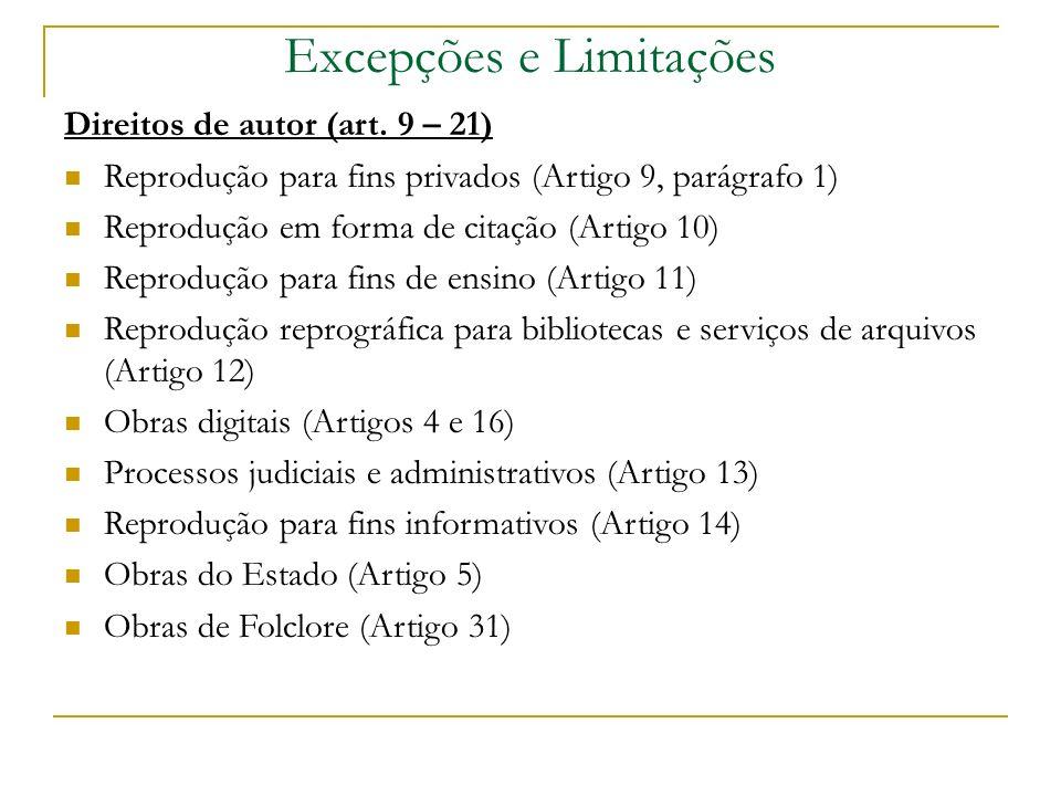 Excepções e Limitações Direitos de autor (art.