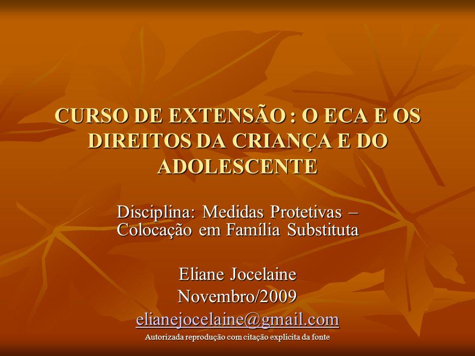 CURSO DE EXTENSÃO : O ECA E OS DIREITOS DA CRIANÇA E DO ADOLESCENTE Disciplina: Medidas Protetivas – Colocação em Família Substituta Eliane Jocelaine