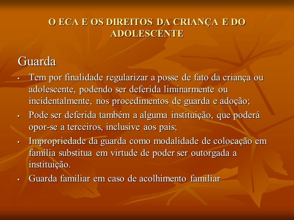 O ECA E OS DIREITOS DA CRIANÇA E DO ADOLESCENTE Guarda Tem por finalidade regularizar a posse de fato da criança ou adolescente, podendo ser deferida