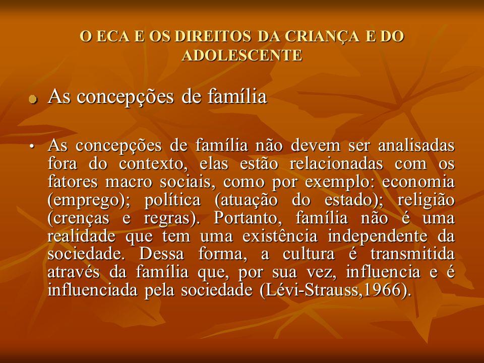 O ECA E OS DIREITOS DA CRIANÇA E DO ADOLESCENTE As concepções de família As concepções de família não devem ser analisadas fora do contexto, elas estã
