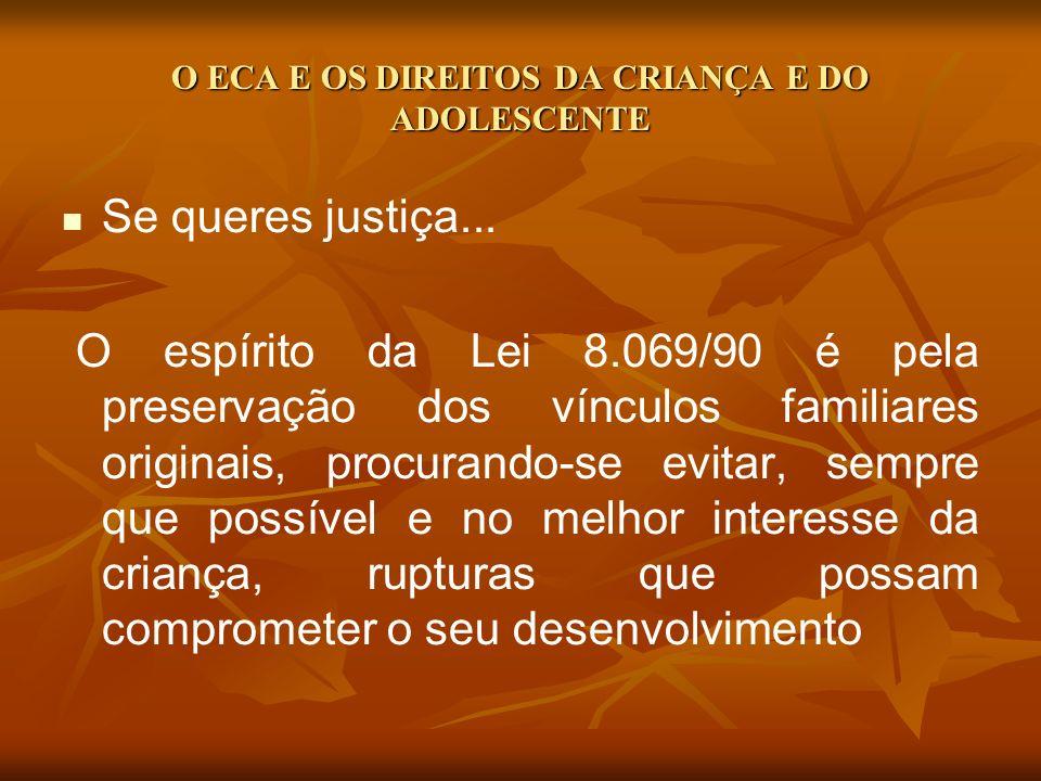 O ECA E OS DIREITOS DA CRIANÇA E DO ADOLESCENTE Se queres justiça... O espírito da Lei 8.069/90 é pela preservação dos vínculos familiares originais,
