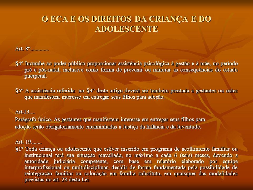 O ECA E OS DIREITOS DA CRIANÇA E DO ADOLESCENTE Art. 8º.............. §4º Incumbe ao poder público proporcionar assistência psicológica à gestão e à m