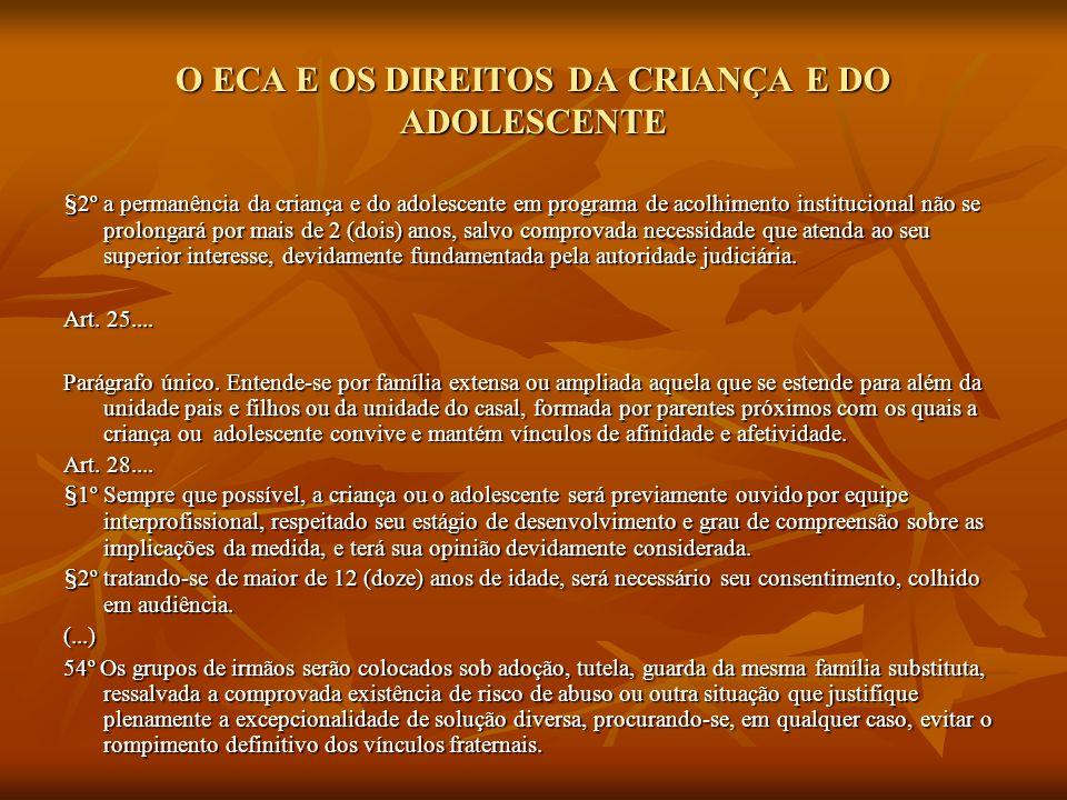O ECA E OS DIREITOS DA CRIANÇA E DO ADOLESCENTE §2º a permanência da criança e do adolescente em programa de acolhimento institucional não se prolonga
