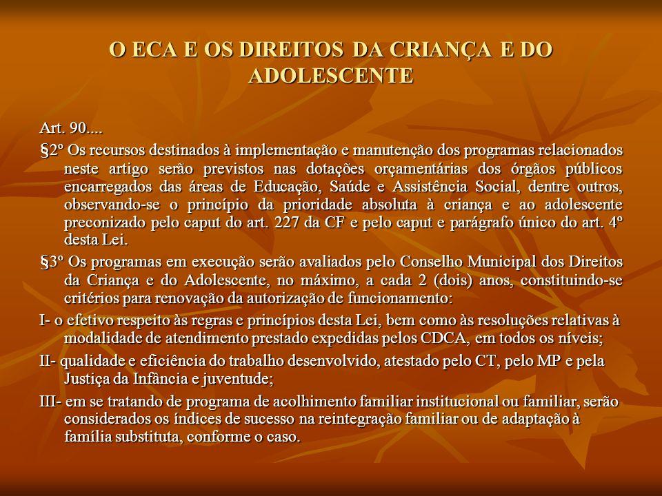 O ECA E OS DIREITOS DA CRIANÇA E DO ADOLESCENTE Art. 90.... §2º Os recursos destinados à implementação e manutenção dos programas relacionados neste a