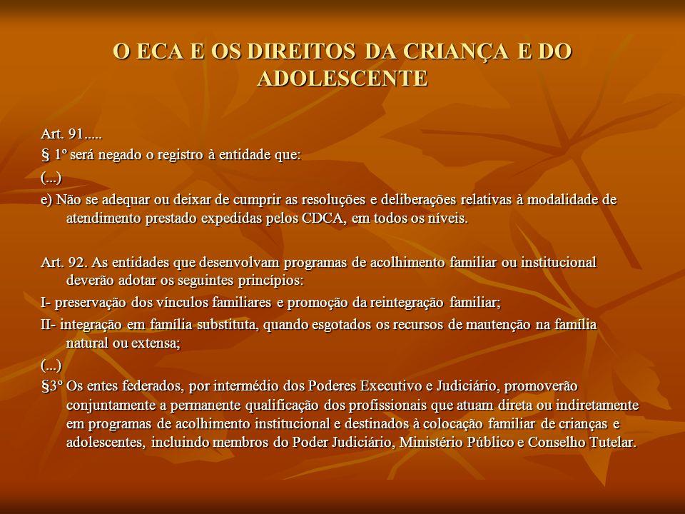 O ECA E OS DIREITOS DA CRIANÇA E DO ADOLESCENTE Art. 91..... § 1º será negado o registro à entidade que: (...) e) Não se adequar ou deixar de cumprir