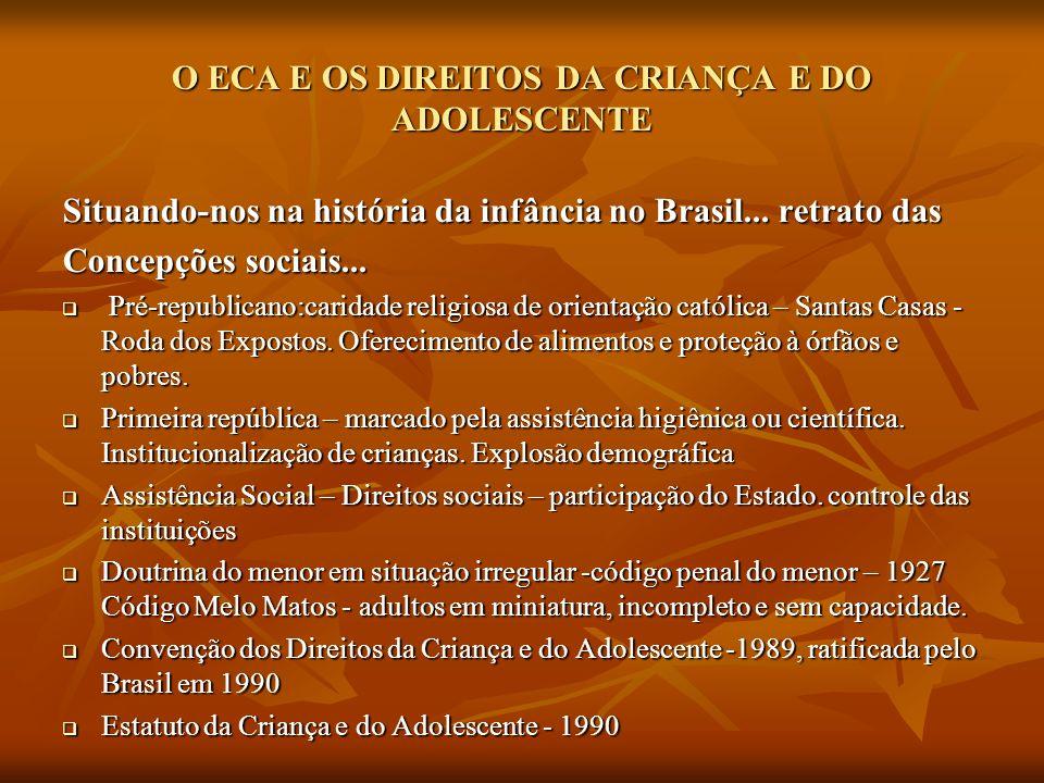 O ECA E OS DIREITOS DA CRIANÇA E DO ADOLESCENTE Situando-nos na história da infância no Brasil... retrato das Concepções sociais... Pré-republicano:ca