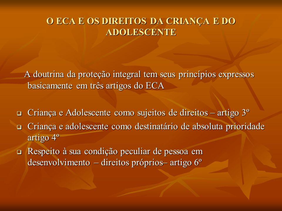 O ECA E OS DIREITOS DA CRIANÇA E DO ADOLESCENTE A doutrina da proteção integral tem seus princípios expressos basicamente em três artigos do ECA A dou