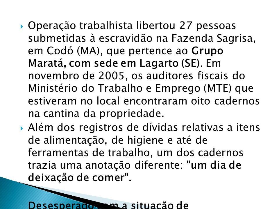 Operação trabalhista libertou 27 pessoas submetidas à escravidão na Fazenda Sagrisa, em Codó (MA), que pertence ao Grupo Maratá, com sede em Lagarto (