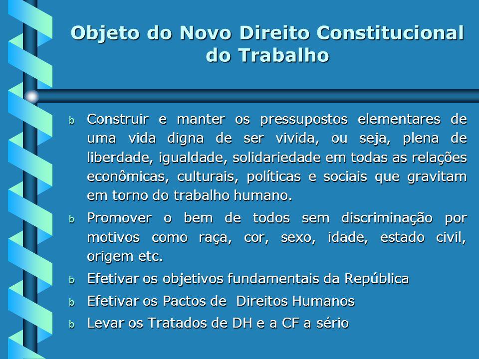 OBJETO DO NOVO DIREITO CONSTITUIONAL DO TRABALHO b b Efetivar igualdade jurídica substancial entre o capital e o trabalho, conferindo uma superioridad