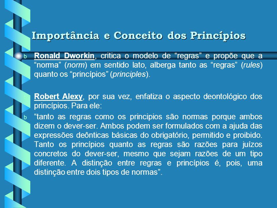 Importância e Conceito dos Princípios b b Celso Antonio Bandeira de Mello: b b (...) Princípio é, por definição, mandamento nuclear de um sistema, ver