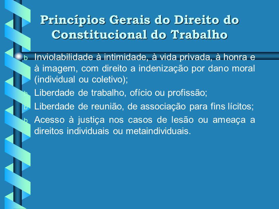 Princípios Gerais do Direito do Constitucional do Trabalho b b Inviolabilidade do direito à vida, à liberdade, à segurança e à igualdade; b b Vedação