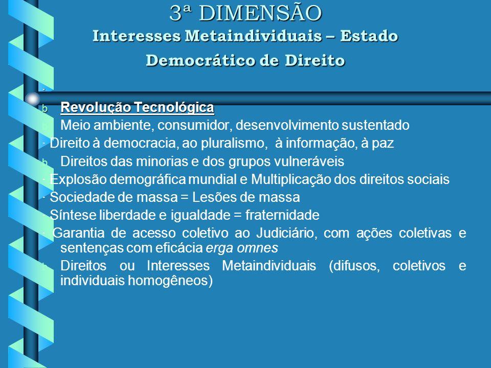 2ª DIMENSÃO Direitos Sociais, Econômicos e Culturais Estado Social b Revolução Industrial b Constitucionalismo social (séc. XIX e XX) b Função social