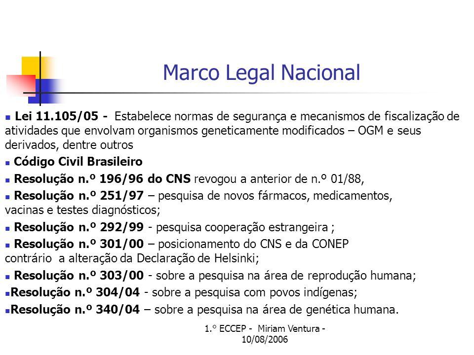 1.° ECCEP - Miriam Ventura - 10/08/2006 Marco Legal Nacional Lei 11.105/05 - Estabelece normas de segurança e mecanismos de fiscalização de atividades