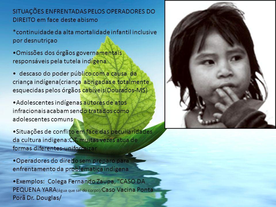 SITUAÇÕES ENFRENTADAS PELOS OPERADORES DO DIREITO em face deste abismo *continuidade da alta mortalidade infantil inclusive por desnutriçao Omissões d