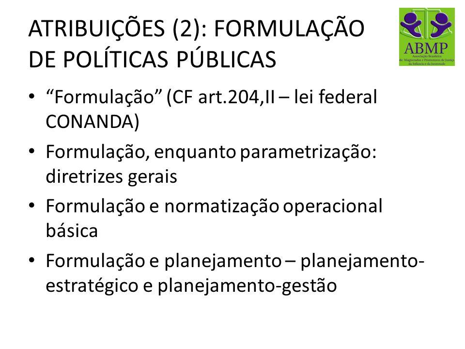 ATRIBUIÇÕES (2): FORMULAÇÃO DE POLÍTICAS PÚBLICAS Formulação (CF art.204,II – lei federal CONANDA) Formulação, enquanto parametrização: diretrizes ger