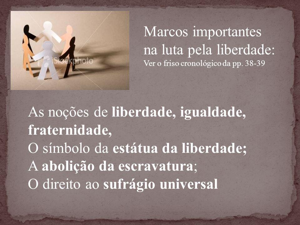 Marcos importantes na luta pela liberdade: Ver o friso cronológico da pp. 38-39 As noções de liberdade, igualdade, fraternidade, O símbolo da estátua