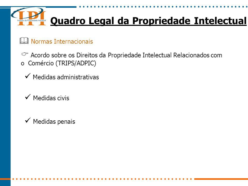 Quadro Legal da Propriedade Intelectual Normas Internacionais Acordo sobre os Direitos da Propriedade Intelectual Relacionados com o Comércio (TRIPS/ADPIC) Medidas administrativas Medidas civis Medidas penais