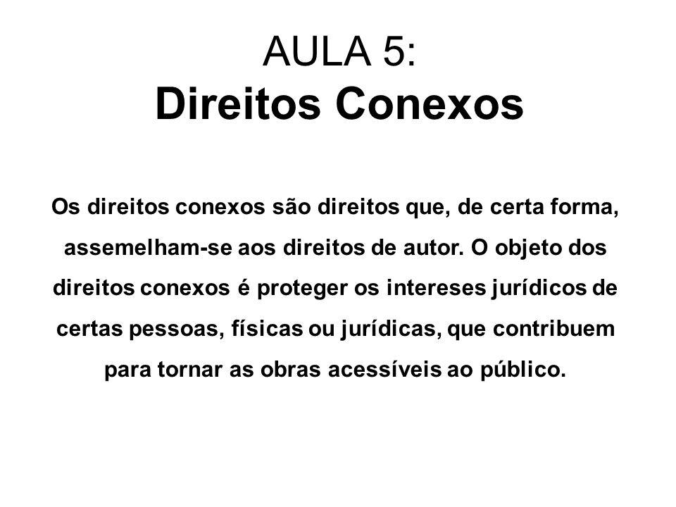 Direitos Conexos Um exemplo é o cantor ou músico que interpreta uma obra do compositor para o público.