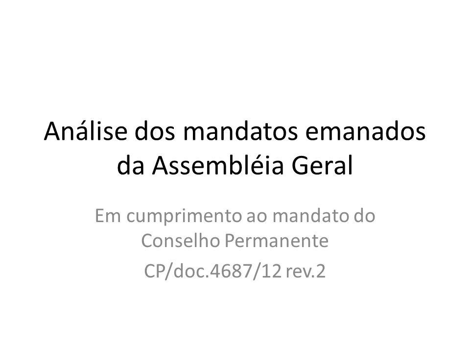 Análise dos mandatos emanados da Assembléia Geral Em cumprimento ao mandato do Conselho Permanente CP/doc.4687/12 rev.2