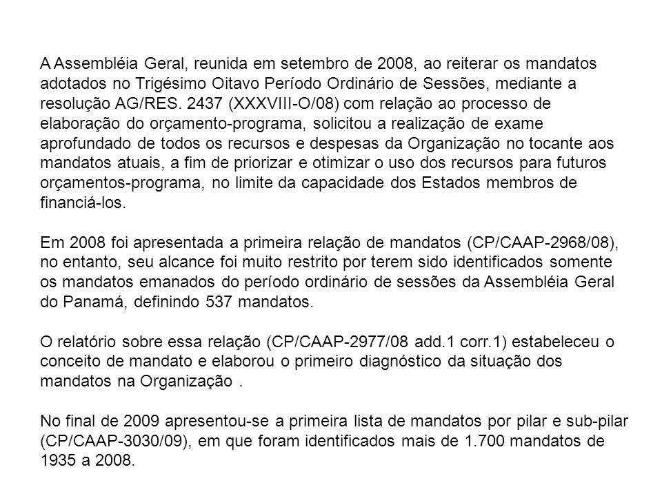 A Assembléia Geral, reunida em setembro de 2008, ao reiterar os mandatos adotados no Trigésimo Oitavo Período Ordinário de Sessões, mediante a resolução AG/RES.