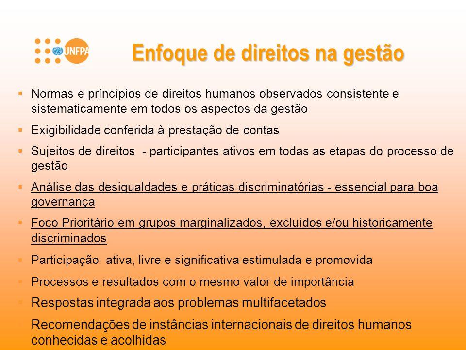 Normas e príncípios de direitos humanos observados consistente e sistematicamente em todos os aspectos da gestão Exigibilidade conferida à prestação d