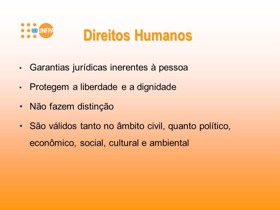 Direitos Humanos Garantias jurídicas inerentes à pessoa Protegem a liberdade e a dignidade Não fazem distinção São válidos tanto no âmbito civil, quan