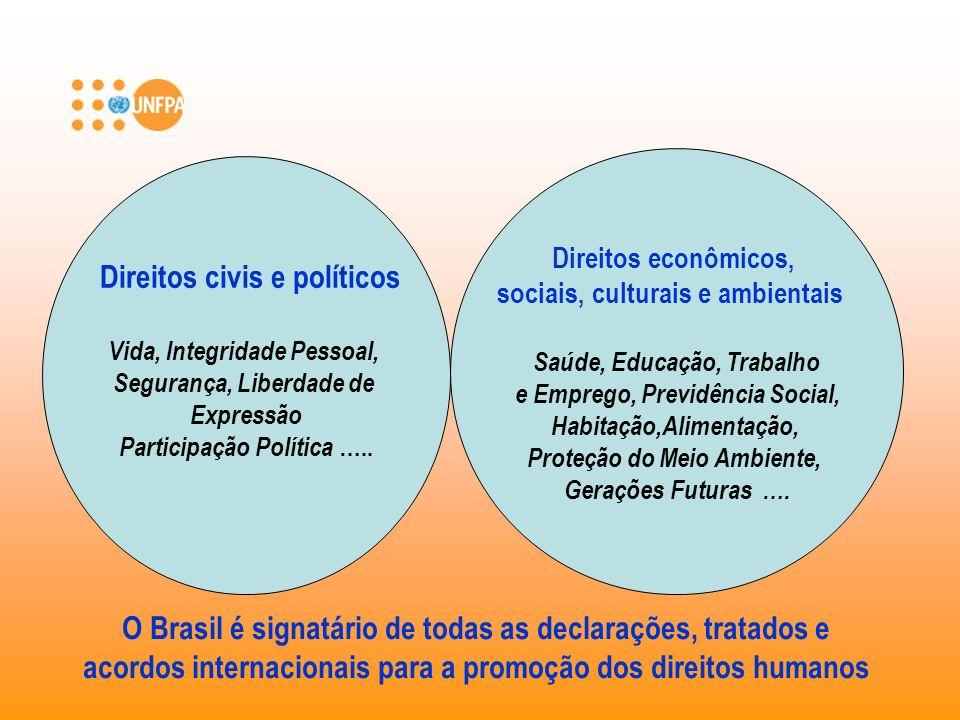 Direitos civis e políticos Vida, Integridade Pessoal, Segurança, Liberdade de Expressão Participação Política ….. Direitos econômicos, sociais, cultur