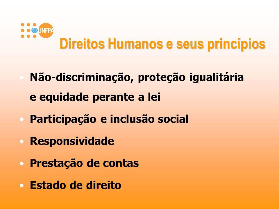 Não-discriminação, proteção igualitária e equidade perante a lei Participação e inclusão social Responsividade Prestação de contas Estado de direito D