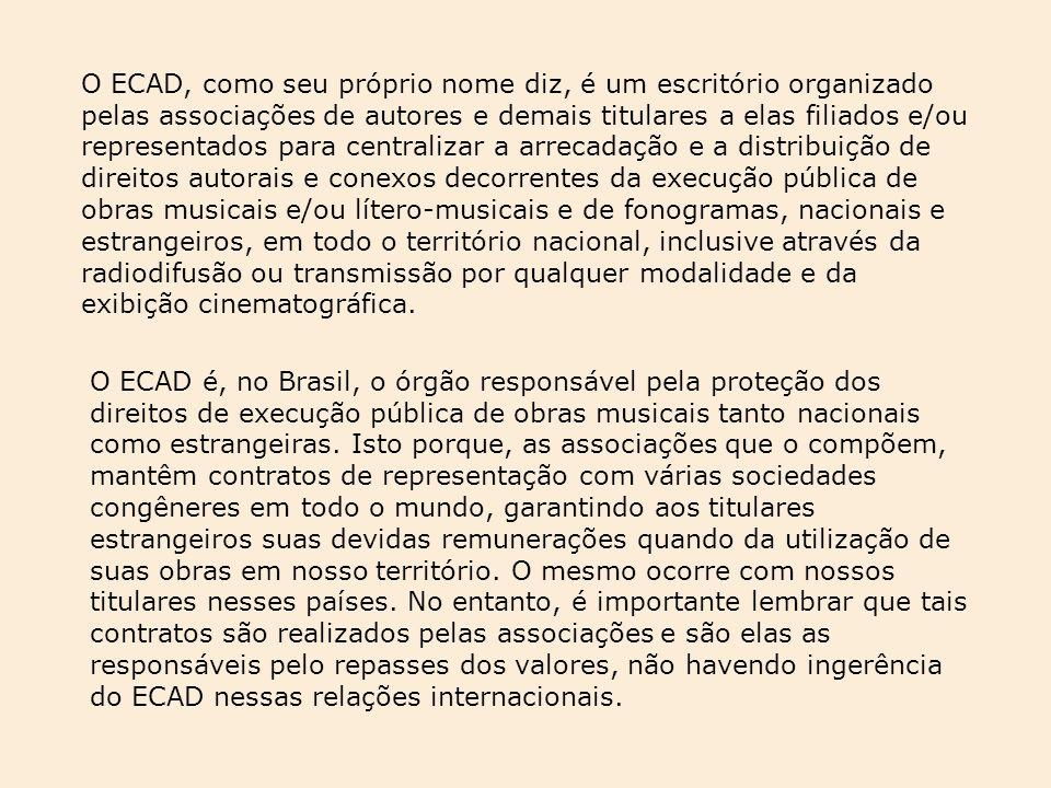 O ECAD é, no Brasil, o órgão responsável pela proteção dos direitos de execução pública de obras musicais tanto nacionais como estrangeiras. Isto porq