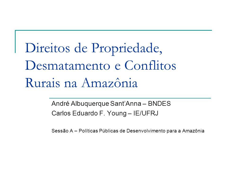 Direitos de Propriedade, Desmatamento e Conflitos Rurais na Amazônia André Albuquerque SantAnna – BNDES Carlos Eduardo F. Young – IE/UFRJ Sessão A – P