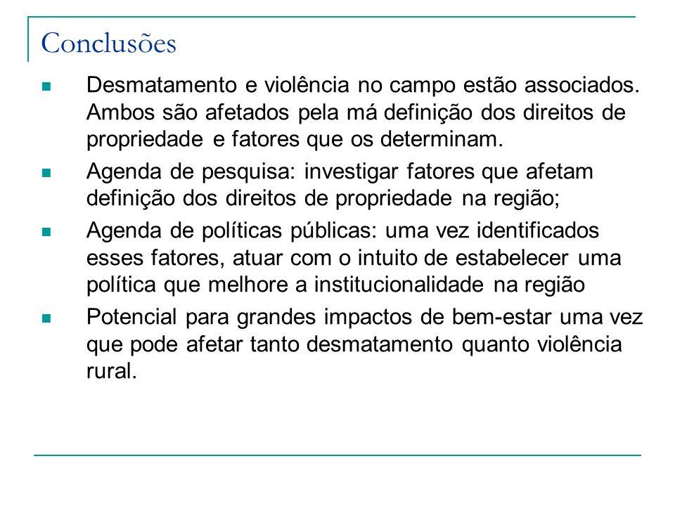 Conclusões Desmatamento e violência no campo estão associados. Ambos são afetados pela má definição dos direitos de propriedade e fatores que os deter