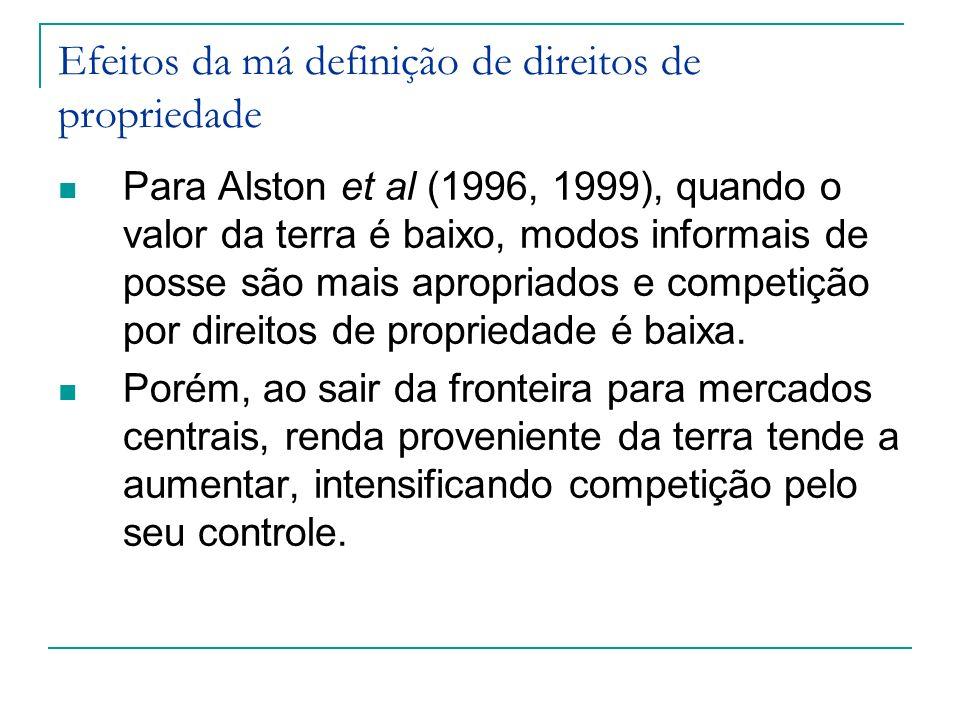 Para Alston et al (1996, 1999), quando o valor da terra é baixo, modos informais de posse são mais apropriados e competição por direitos de propriedad