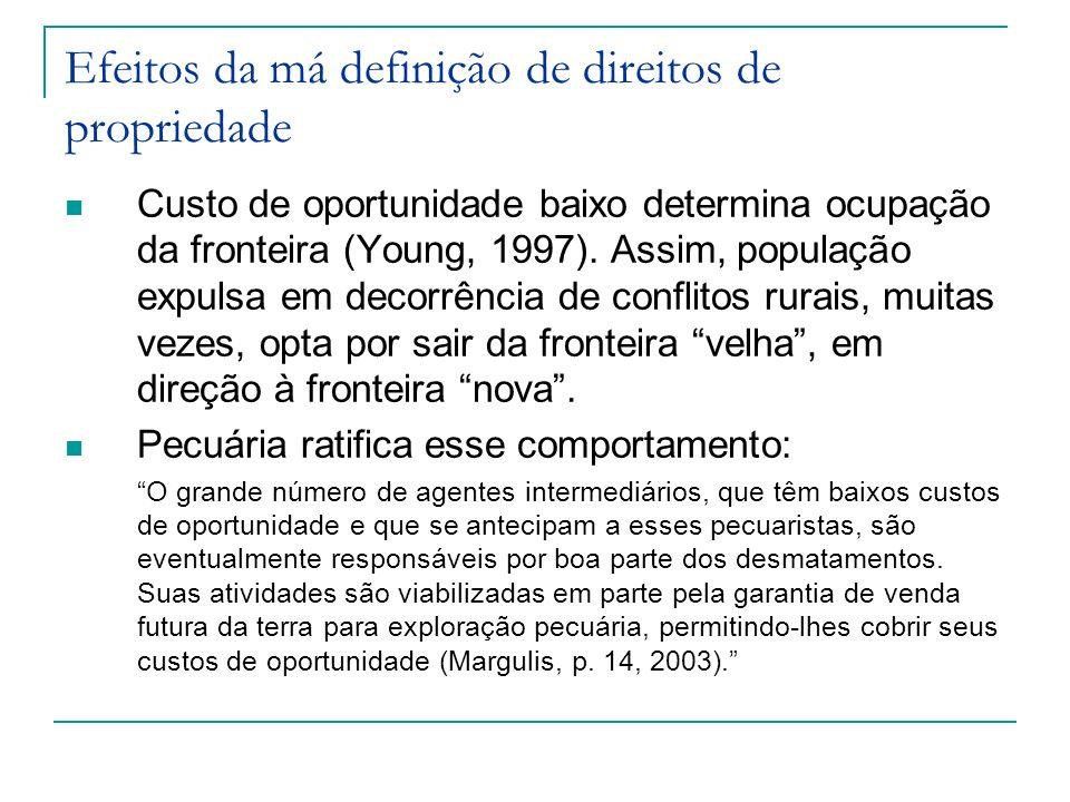 Custo de oportunidade baixo determina ocupação da fronteira (Young, 1997). Assim, população expulsa em decorrência de conflitos rurais, muitas vezes,