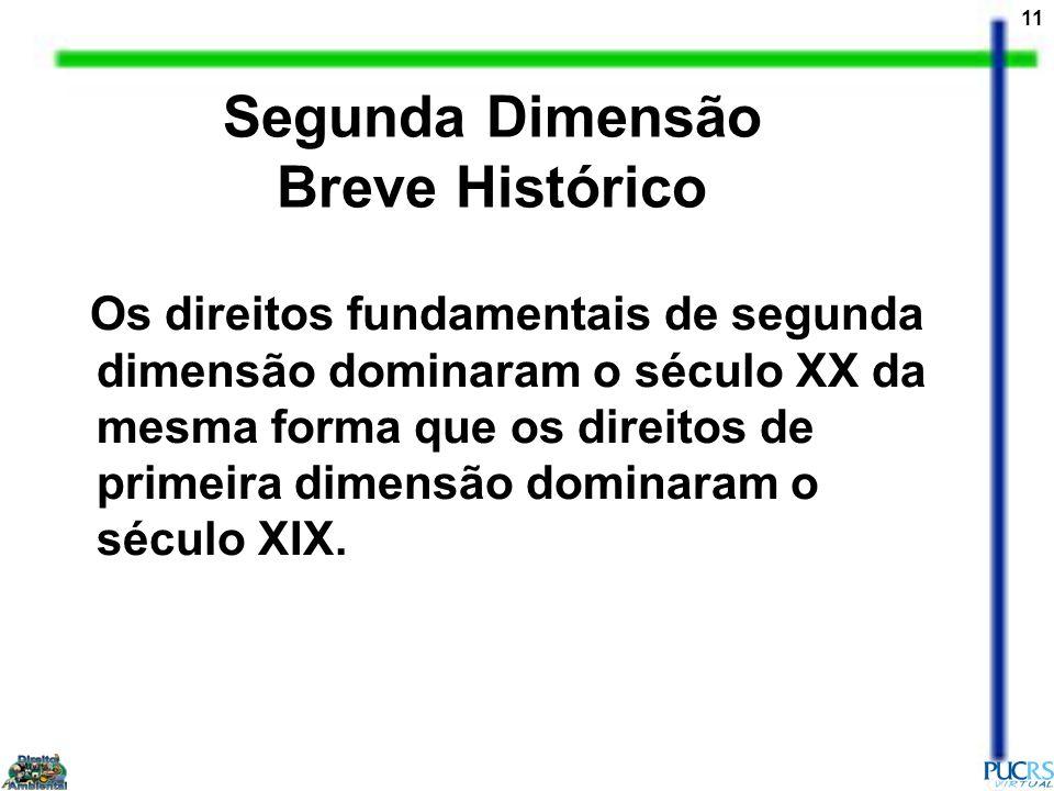 11 Segunda Dimensão Breve Histórico Os direitos fundamentais de segunda dimensão dominaram o século XX da mesma forma que os direitos de primeira dime