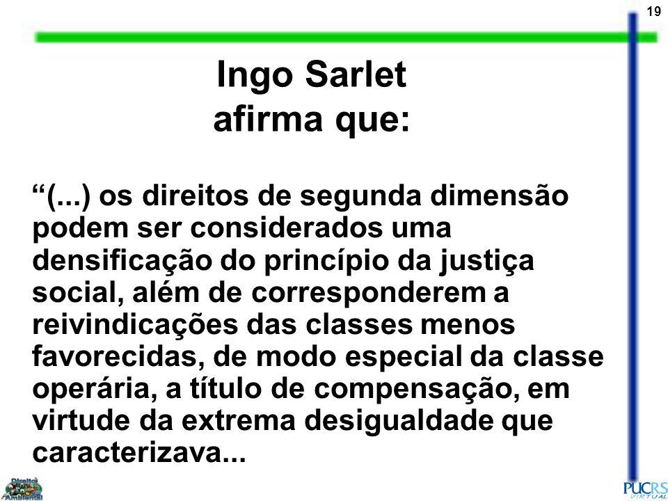 19 Ingo Sarlet afirma que: (...) os direitos de segunda dimensão podem ser considerados uma densificação do princípio da justiça social, além de corre