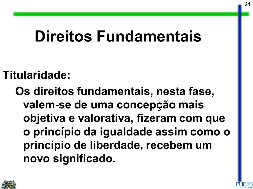 21 Direitos Fundamentais Titularidade: Os direitos fundamentais, nesta fase, valem-se de uma concepção mais objetiva e valorativa, fizeram com que o p