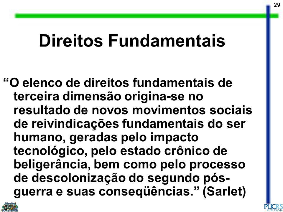 29 Direitos Fundamentais O elenco de direitos fundamentais de terceira dimensão origina-se no resultado de novos movimentos sociais de reivindicações