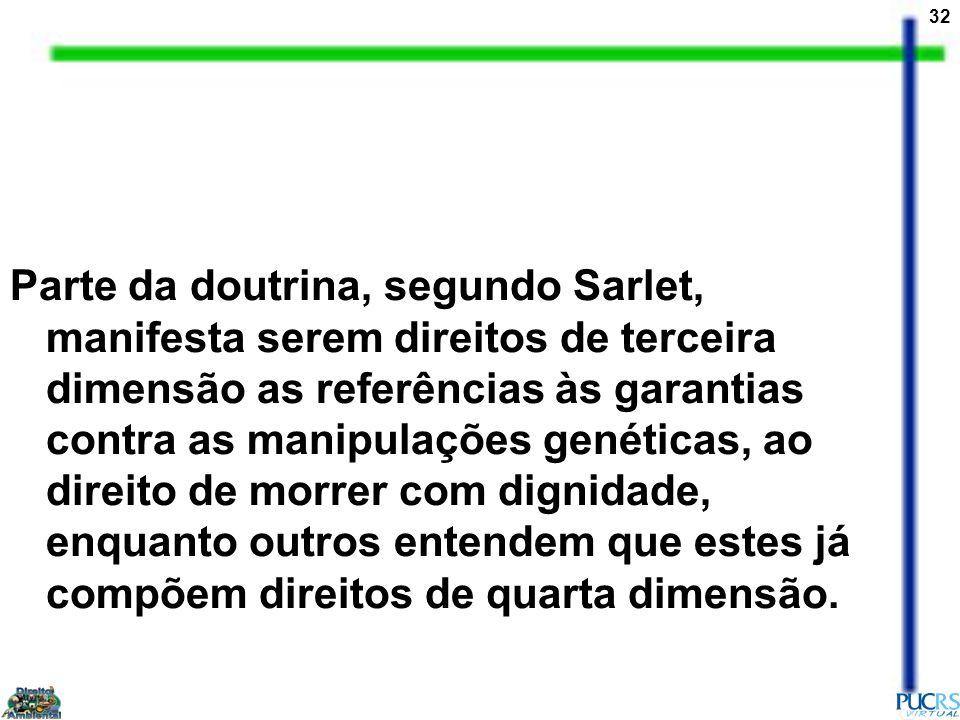 32 Parte da doutrina, segundo Sarlet, manifesta serem direitos de terceira dimensão as referências às garantias contra as manipulações genéticas, ao d
