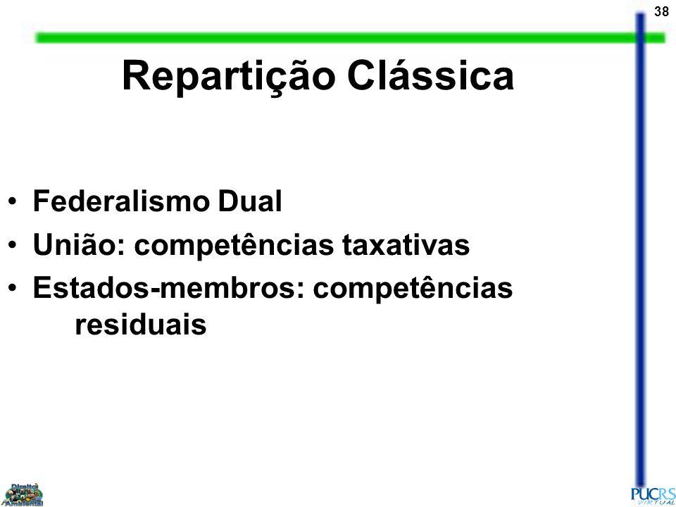 38 Federalismo Dual União: competências taxativas Estados-membros: competências residuais Repartição Clássica