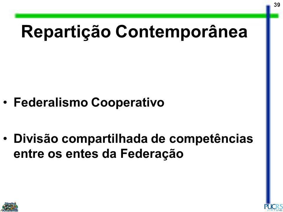 39 Federalismo Cooperativo Divisão compartilhada de competências entre os entes da Federação Repartição Contemporânea