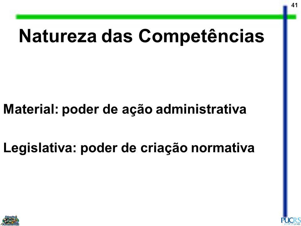 41 Material: poder de ação administrativa Legislativa: poder de criação normativa Natureza das Competências