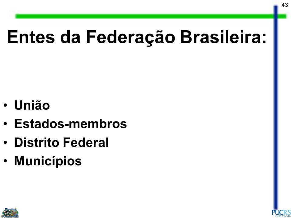 43 União Estados-membros Distrito Federal Municípios Entes da Federação Brasileira: