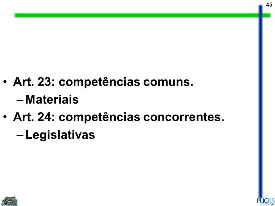 45 Art. 23: competências comuns. –Materiais Art. 24: competências concorrentes. –Legislativas